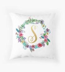 Floral Initial Wreath Monogram S Throw Pillow