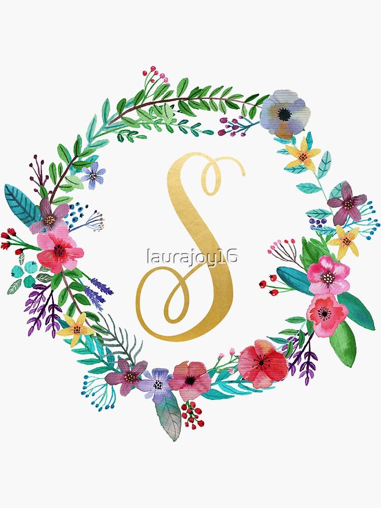 Guirnalda inicial floral Monogram S de laurajoy16