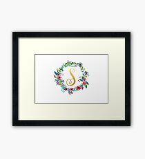Floral Initial Wreath Monogram S Framed Print