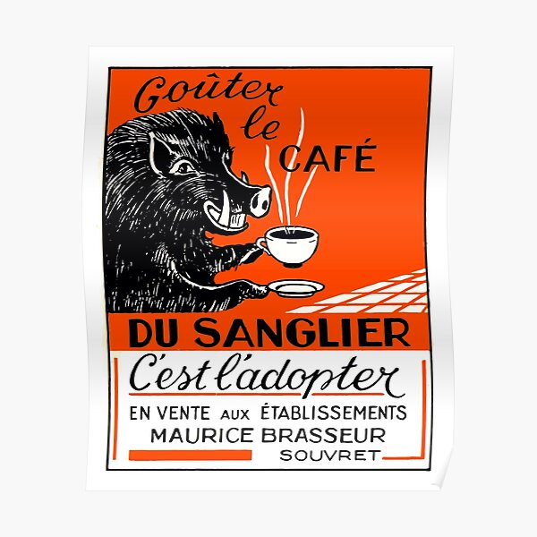 Antique Belgian Coffee Boar Advertising Poster Poster