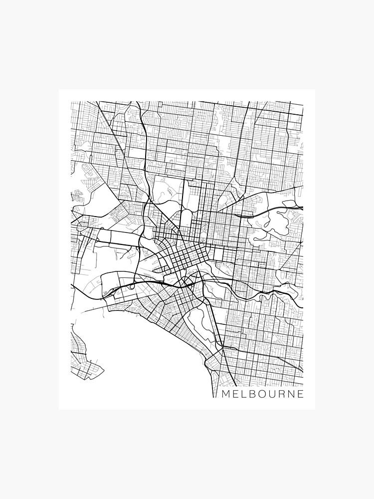Melbourne Map Australia.Melbourne Map Australia Black And White Photographic Print