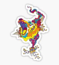 Psychedelic acid bear roar Sticker