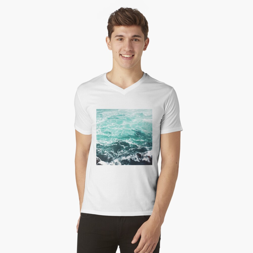 Blue Ocean Summer Beach Waves V-Neck T-Shirt