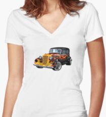 Retro Hot Rod Women's Fitted V-Neck T-Shirt