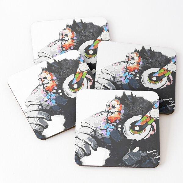 Banksy DJ Monkey Thinker with Headphones White Coasters (Set of 4)
