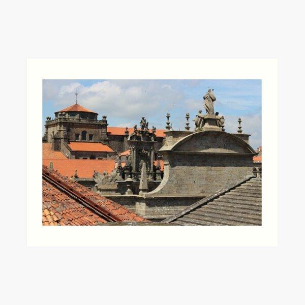 Cathedral of Santiago de Compostela, rooftop Art Print
