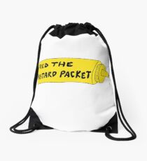 Fred the Mustard Packet's Name on a Mustard Bottle. Drawstring Bag