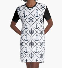 Anchor and Wheel Nautical - Navy and White Graphic T-Shirt Dress