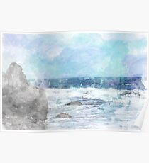 Ocean Watercolor Photography Poster
