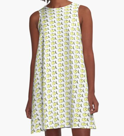 Yellow fish design A-Line Dress