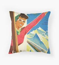 Vintage Switzerland Tourism Travel Poster Throw Pillow