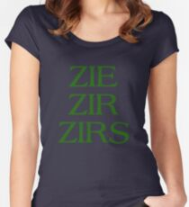 Pronouns - ZIE / ZIR / ZIRS - LGBTQ Trans pronouns tees Women's Fitted Scoop T-Shirt