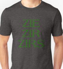 Pronouns - ZIE / ZIR / ZIRS - LGBTQ Trans pronouns tees Slim Fit T-Shirt