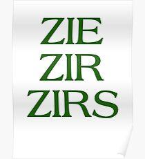 Pronouns - ZIE / ZIR / ZIRS - LGBTQ Trans pronouns tees Poster