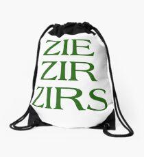 Pronouns - ZIE / ZIR / ZIRS - LGBTQ Trans pronouns tees Drawstring Bag