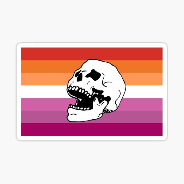lesbian pride flag skull  Sticker