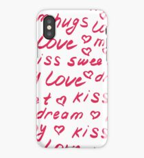 Love lettering seamless red pattern, hand drawn calligraphy wallpaper. iPhone Case