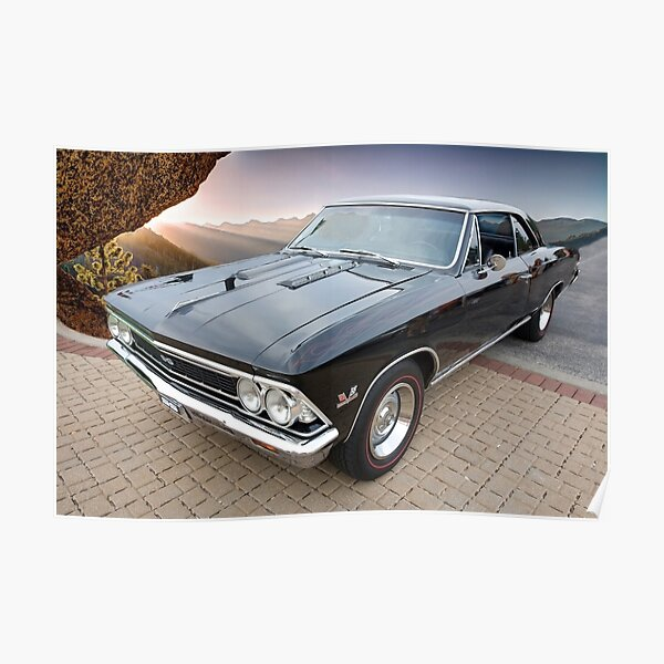 1966 Chevelle SS and Sierra Nevada Mountains Poster