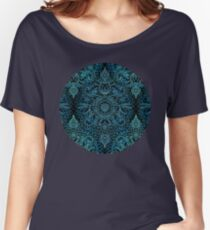 Black, Teal & Aqua Protea Doodle Pattern Women's Relaxed Fit T-Shirt