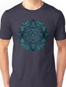 Black, Teal & Aqua Protea Doodle Pattern Unisex T-Shirt