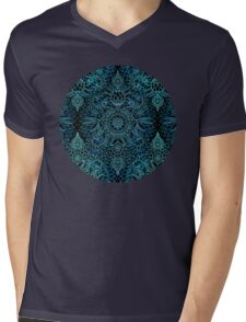 Black, Teal & Aqua Protea Doodle Pattern Mens V-Neck T-Shirt