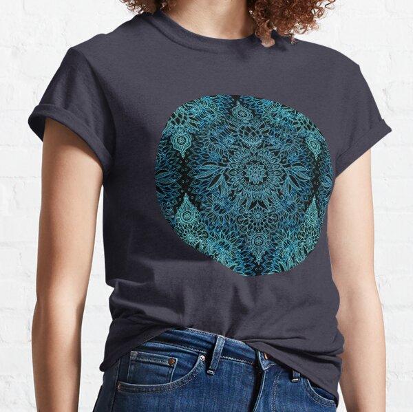Black, Teal & Aqua Protea Doodle Pattern Classic T-Shirt