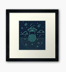 Ufo in dark night.  Framed Print