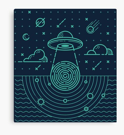 Ufo in dark night.  Canvas Print