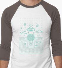 UFO in dunkler Nacht. Baseballshirt mit 3/4-Arm
