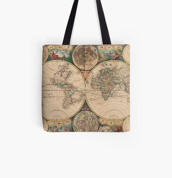 Vintage Map of The World (1672) 2 All Over Print Tote Bag