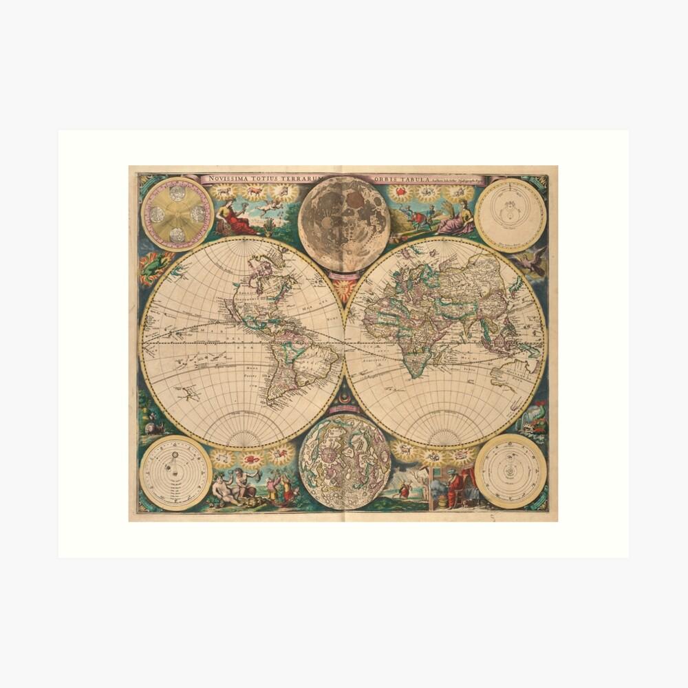 Mapa vintage del mundo (1672) 2 Lámina artística
