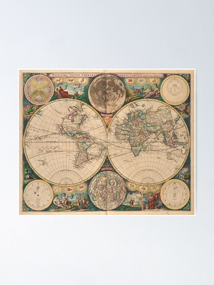 Alternate view of Vintage Map of The World (1672) 2 Poster