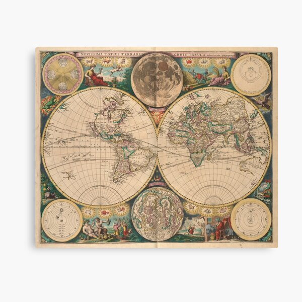 Vintage Map of The World (1672) 2 Canvas Print