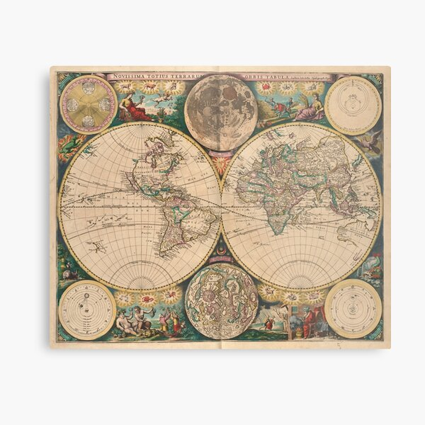 Vintage Map of The World (1672) 2 Metal Print
