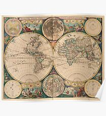 Vintage Map of The World (1672) 2 Poster