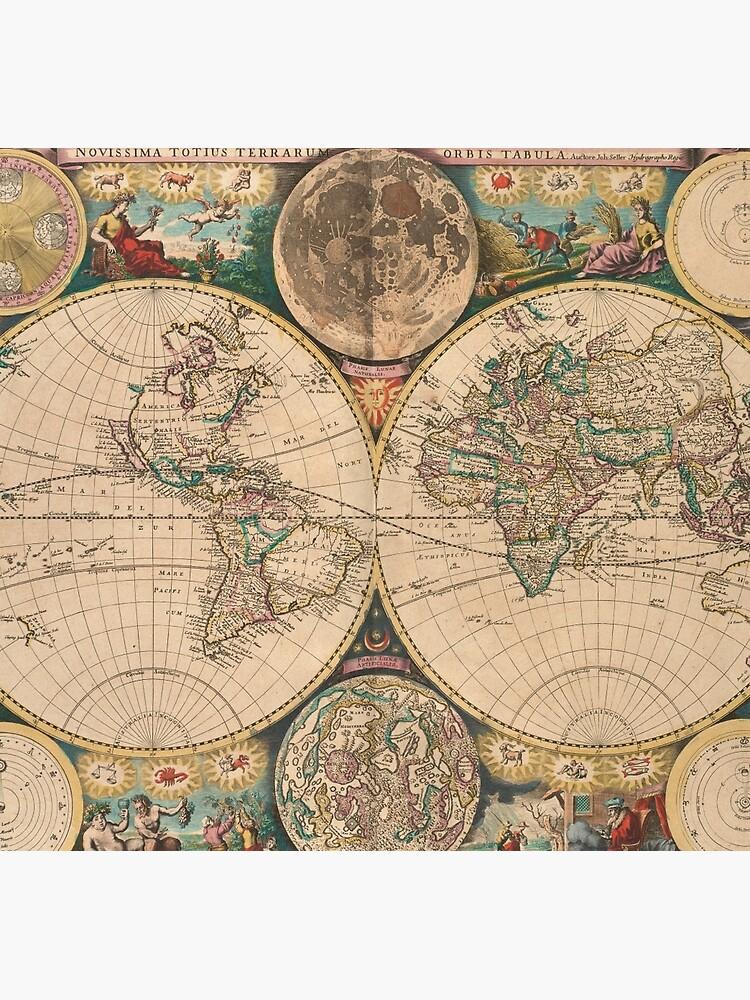 Mapa vintage del mundo (1672) 2 de BravuraMedia