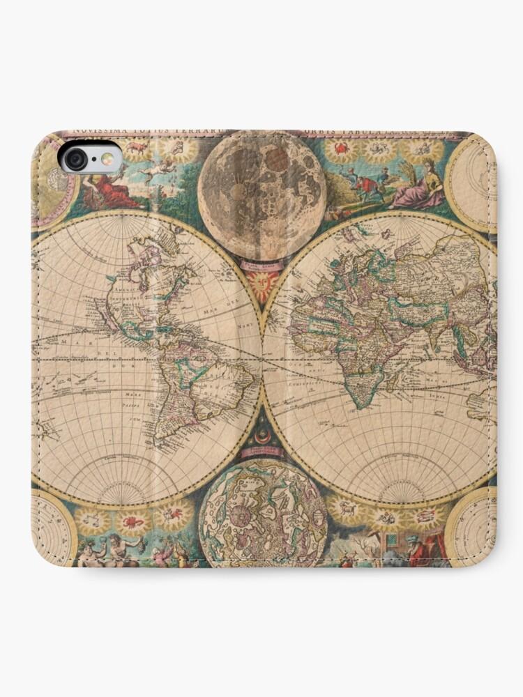 Vista alternativa de Fundas tarjetero para iPhone Mapa vintage del mundo (1672) 2