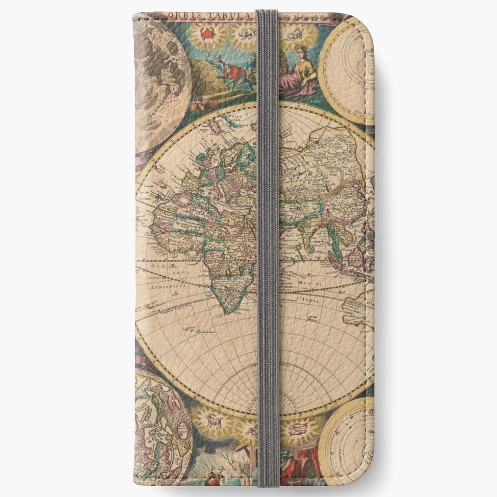 Mapa vintage del mundo (1672) 2 Fundas tarjetero para iPhone