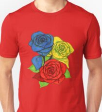 Red, Blue, and Yellow Roses Unisex T-Shirt