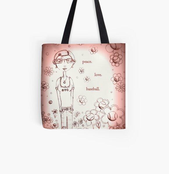 Pale Pink Peace Love and Baseball - Whimsical Folk Art Girl All Over Print Tote Bag