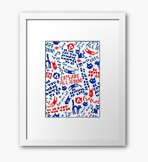 Cats Are All Around - Red And Blue Framed Print