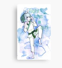 Women in Martial Arts Blue Canvas Print