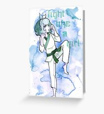 Women in Martial Arts Blue Greeting Card