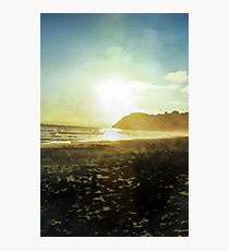 Sunset on a beach in New Zealand in Watercolor Photographic Print
