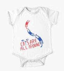 Cats Are All Around - Red And Blue One Piece - Short Sleeve