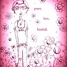 Magenta Peace Love and Baseball - Whimsical Folk Art Girl by erica lubee  ~ SkyBlueWithDaisies