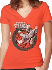 Doctor Strange • Black & White Women's Fitted V-Neck T-Shirt