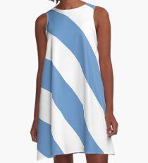 Chapel Hill North Carolina White & Light Blue Team Color Stripes A-Line Dress