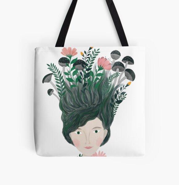 plant women portrait illustration All Over Print Tote Bag
