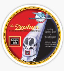 Burlington Rail Zephyr Train Sticker